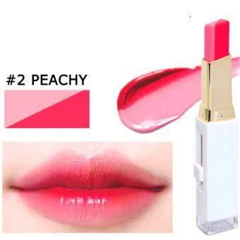NOVO Double Color Lipstick ลิปสติกทูโทน ผสมมอยส์เจอร์ผิวปากเนียนนุ่ม สีหวาน สี #02 Peachy