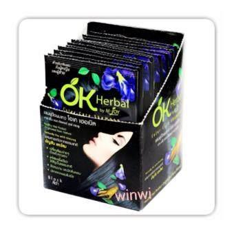 รีวิวพันทิป OK Herbal Shampoo Color Care (Black) แชมพูปิดผมขาวโอเคเฮอเบิล(สีดำ) x 1กล่อง บรรจุ12ซอง