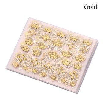 Okdeals 12Pc/Set Hot Metallic Beauty 3D Nail Art Stickers DecalsFlower Manicure Decoration Tools Gold - intl
