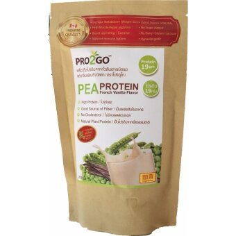 PRO2GO โปรตีนพืช สกัดจากถั่วลันเตา(Pea Protein) ผสมพรีไบโอติก แบบผงชงดื่ม กลิ่นวานิลลา มีรสหวานจากหญ้าหวาน