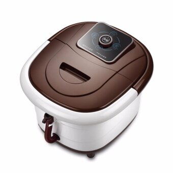 QNIGLO All in one Foot SPA Bath Massager w/ heat, HF Vibration, O2Bubbles Red Light Brown