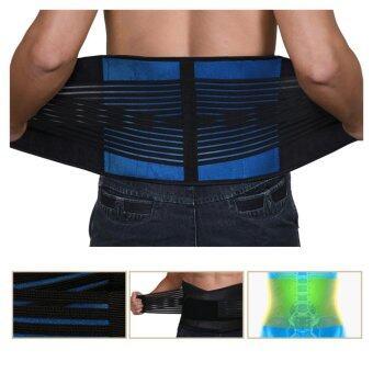 SAVFY Adjustable Neoprene Deluxe Belt Double Pull Lumbar Lower Back Support Brace-L
