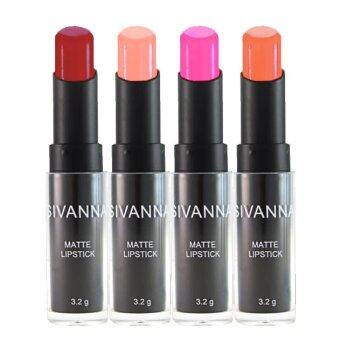 Sivanna Colors ลิปสติก เนื้อแมท Matte Lipstick HF308 (4 แท่ง) #Set4