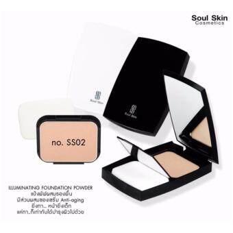 Soul Skin ILLUMINATING Foundation Powder SPF 30 PA+++ 12g. #ss02โซล สกิน แป้งพัพผสมรองพื้น สำหรับผิวขาวเหลือง