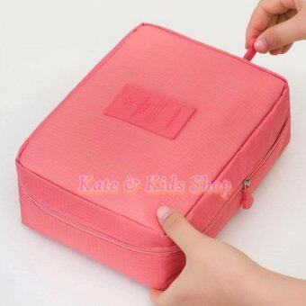 Travel season กระเป๋าอเนกประสงค์พกพา เดินทาง ใส่เครื่องสำอางอุปกรณ์อาบน้ำ สีชมพู
