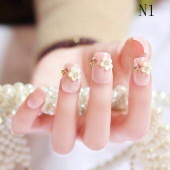 Wedding Bride Full Nail Tips 3D False Stikers Gel Fake Nails 24PCManicure Colour1 - intl