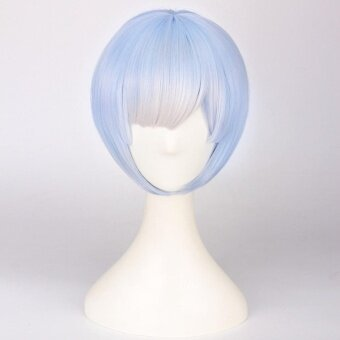 Wigs For Women Straight Short Wig For Cosplay Party Re Life In aDifferent World From Zero Color:Blue With Hair Accessories - intl