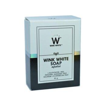 อยากขาย Wink White Soap สบู่วิงค์ไวท์ ผสมกลูต้า น้ำนมแพะ ช่วยทำความสะอาดผิว บำรุงผิว ให้ขาวเนียนใส ขนาด 80g. (1 ก้อน)