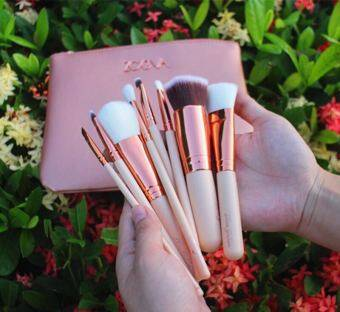 Harga ZOEVA 8pcs makeup brush set, with leather bag Golden color