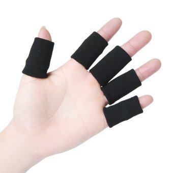 10ชิ้นปลอกนิ้วป้องกันบาสเกตบอลอาชีพปิดบังเคล็ดป้องกันนิ้วสีดำ