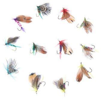 12ชิ้นชุดล่อแมลงบินตกเหยื่อปลอมตะขอเดี่ยวสไตล์ขน