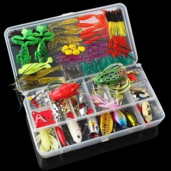 131pcs Fishing Lures Kit Mixed Hard Lures Soft Baits Minnow CrankPopper VIB Sequins Wobbler Frog Lure with Box - intl