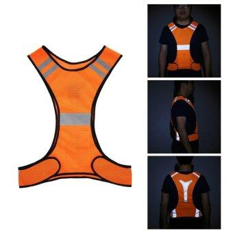 3 LED Lights Cycling Vest Outdoor Sports Running Reflective SafetyVest Gear High Visibility For Exercise Jogging Polyester (Orange) -intl