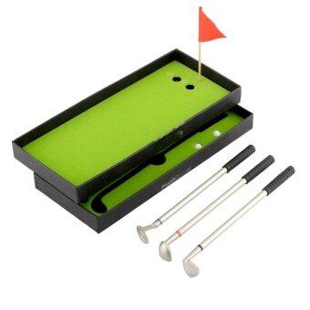 ประเทศไทย 3Pcs Mini Golf Sports Clubs Models Ballpoint Pen Flag Putter Iron Set Gift New - intl