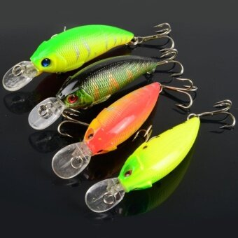 4pcs Plastic Fishing Lure Bass CrankBait Crank Bait Tackle Hooks8.3g/7.5cm - intl