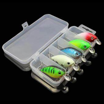 5pcs 7.5cm 7g Fishing Lures Crank Simulation Bait + Case - intl