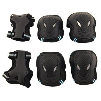 6pcs Adult Kids Cycling Roller Skating Cycling Set Knee Elbow WristProtective Gear Pads Support Set Size M (Black+Blue)