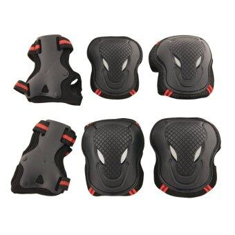 6pcs Adult Kids Cycling Roller Skating Cycling Set Knee Elbow WristProtective Gear Pads Support Set Size S (Black+Red)