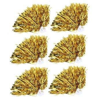 6pcs Cheerleader Pom Poms Cheer Sports Party Dance Accessories(Gold) - intl