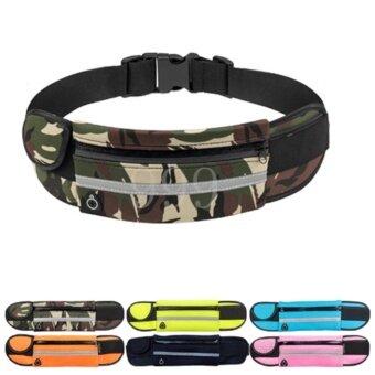 ซื้อ/ขาย 999-กระเป๋ากีฬาแบบคาดเอวใส่โทรศัพท์มือถือกันน้ำได้ มีรูสายหูฟัง-สีทหาร