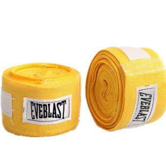 Harga Absorb Sweat Cotton Sports Bandage Boxing Binding Protect Belt HandWraps (Yellow)