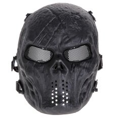 Airsoft Paintball Full Face Protection Skull Mask(Black) - intl