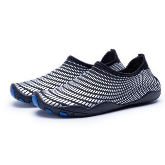 Anti skid soft fit water ski shoes diving shoes beach shoes Vigorous outdoor leisure sports shoes wading quick dry shoes(Black and Blue) - intl