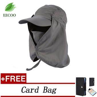 (Buy 1 Get 1 Free Gift) Outdoor Fishing Hiking Hat Adjustable Sun UV Protection Neck Flap Foldable Cover Cap- Dark Grey - intl