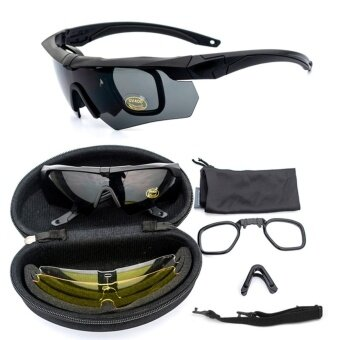 Coowalk ESS UV400 Protection Cycling Sunglasses Tactical Military Glasses Army Goggles 3 Lens TR90 Safety Glasses(UV400 Protection) - intl
