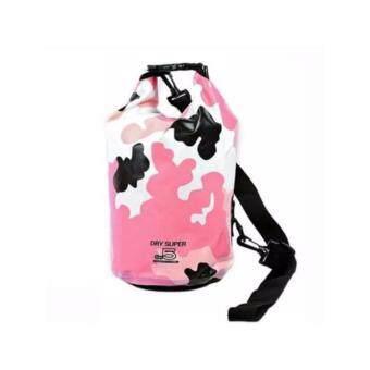 Dry Super กระเป๋ากันน้ำ ถุงกันน้ำ Waterproof Bag รุ่นลายพรางทหาร ความจุ 5 Liter (สีชมพู)