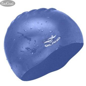 EsoGoal Swim Cap, Long Hair Swimming Cap Waterproof Silicone Hat for Adult Woman and Men (Dark Blue) - intl