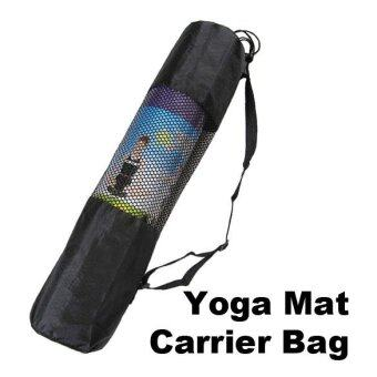 Fine Nylon Yoga Mat Bag Carrier Mesh Center (Black) - intl