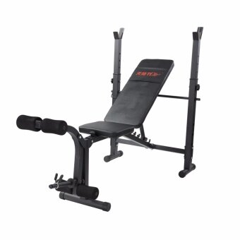 Fitness@Home เก้าอี้บาร์เบล ม้าบาร์เบล พร้อมแร็ควาง บาร์เบล และที่เล่นน้ำหนักที่ขา รุ่น FN-17 (สีดำ)