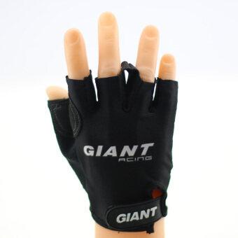 ราคา GIANT ถุงมือครึ่งนิ้ว มีเจลรองมือหนานุ่ม สำหรับกีฬาจักรยาน (สีดำ) 1 คู่