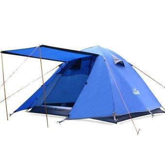 Hewolf 3-4 Person Outdoor Waterproof Family Tent with Carry Bag(Royal blue) - Intl