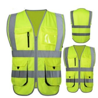 High Visibility Reflective Safety Vest Reflective Vest MultiPockets Workwear Safety Waistcoat (Yellow L Size) - intl