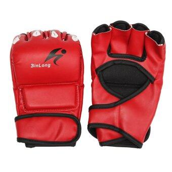 Harga Leather Gel Tech MMA UFC Grappling Gloves Fight Boxing Punch Bag Training Red - intl