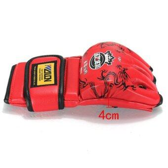 Harga UFC MMA Leather Boxing Gloves Grappling Training Punching Sparring Gloves Mitts Red