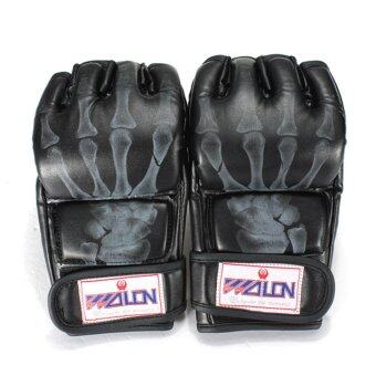 Harga PU Leather Training Grappling UFC Boxing Fight Punch Mitts MMA Sanda Gloves Black