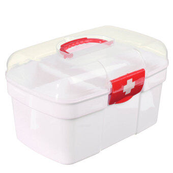 Harga Plastic Clear Health Pill Medicine Chest First Aid Kit Case Storage Box Red - intl