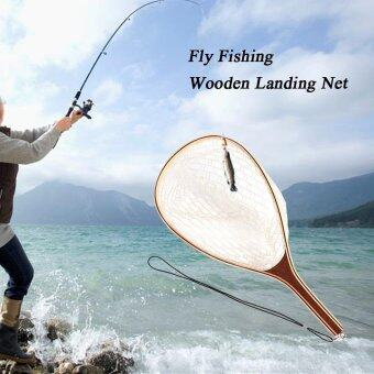 Harga Fly Fishing Landing Net Wooden Handle Frame Catch and Release Net Portable Lightweight - intl