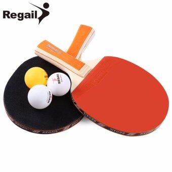 Harga REGAIL A508 Table Tennis Ping Pong Racket Two Long Handle Bat Paddle Three Balls - intl