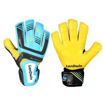 LANDWIN ถุงมือ โกล์ว ฟุตบอล Football Goal keeper Gloves Max ComfortFingersave CYAN/BK