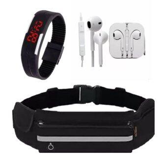 กระเป๋ากีฬาแบบคาดเอวใส่โทรศัพท์มือถือกันน้ำได้+นาฬิกาข้อมือLED+หูฟัง*1pcs