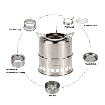 Harga LIXADA Portable Stainless Steel Lightweight Wood Stove Alcohol Stove Burner Outdoor Cooking Picnic BBQ Camping - intl