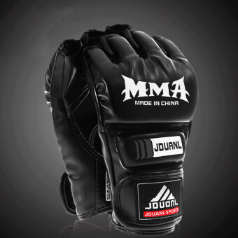 Harga Men's Boxing Gloves Half-fingered Sandbag Gloves MMA Points ToSanda Boxing Fighting Gloves Black (30.0.35) - intl