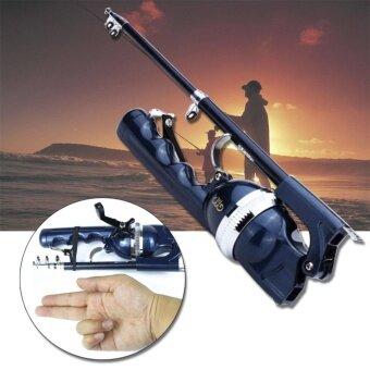OMG เบ็ดปากกา เบ็ดตกปลา เบ็ดพับได้ เบ็ดพกพา Folding Fishing Rod(Blue)