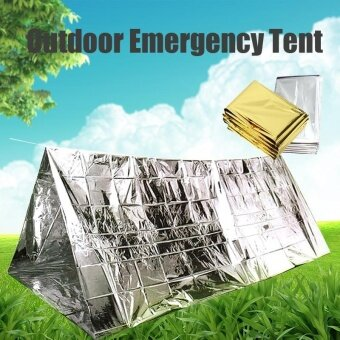 Outdoor Emergency Thermal Tent Camping Hiking Rescue Space BlanketCover Shelter Silver - intl