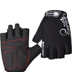 PAlight หายใจหายคอกันลื่นป้องกันการช็อคการขี่จักรยานถุงมือ (สีดำ M)