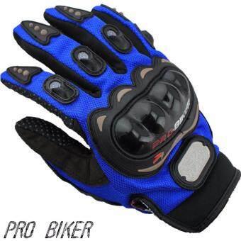 PRO BIKER ถุงมือมอไซร์เต็มนิ้ว ขับขี่รถมอเตอร์ไซด์ และจักรยาน รุ่นยอดนิยม Free size(สีน้ำเงิน)